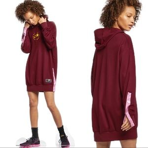Nike Burgundy & Pink Snap Hoodie Dress